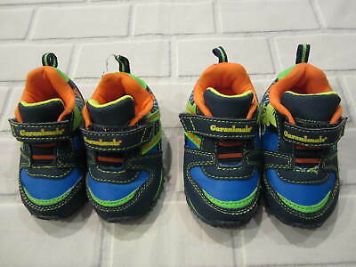 Lot 2 Pairs Baby Toddler Boys Neon Bright Garanimals Athletic Shoes Size 3 & 4