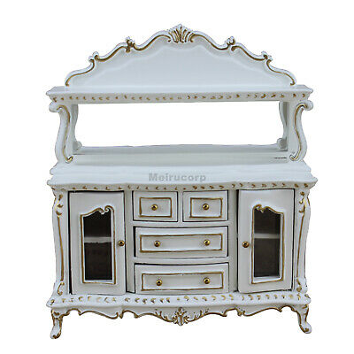 Dollhouse Miniature Furniture White Hand Gilt Dining Room Side Cabinet for 1/12