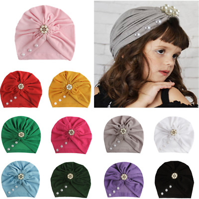 Baby Hat Pearl Bow Cute Newborn Toddler Girls Cap Beanie Hats Turban Head Wrap-