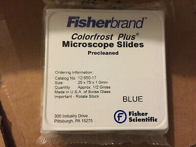 Fisherbrand Colorfrost Plus Microscope Slides - BLUE # 12-550-17. NEW LOW PRICE!