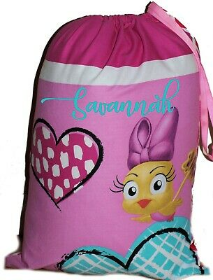 Kids Personalised Drawstring Library Bag Tweet Cutie - SMALL - First name FREE
