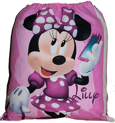 Kids Personalised Drawstring Library Bag - Minnie Mouse - First name FREE