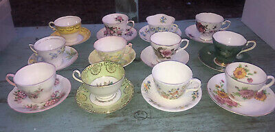 Mixed Lot Of 12 Vintage Teacup & Saucer Sets~Bone China~Made In England