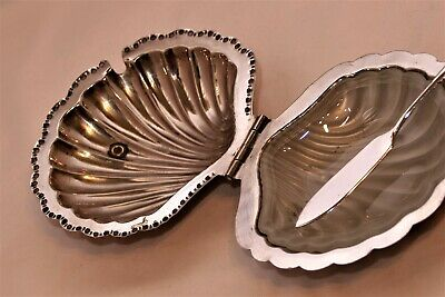 Vintage Silver Plate Shell Butter Dish and Knife by Falstaff with Glass Insert
