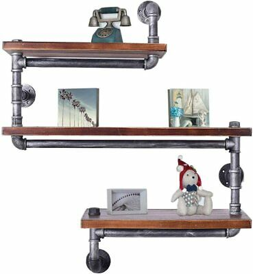 Industrial Pipe Wall Shelf Rustic Bookcase Storage Shelves Wood Shelving 3 Tier