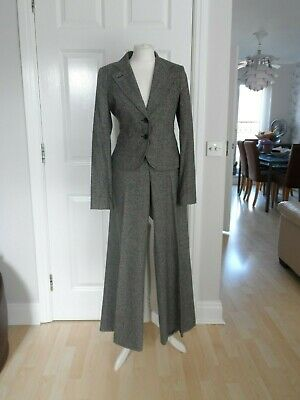 Vintage French Connection Wide Leg Trouser & Jacket Suit Wool Tweed 12 / 14