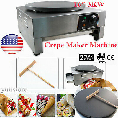 "16"" 3KW Commercial Electric Single Crepe Maker/Kitchen Pancake Machine Nonstick"
