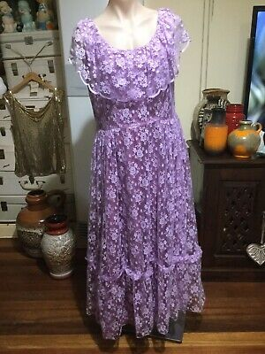 Vintage Purple Lace Cinderella Dress/gown Full Length Maxi Prom Formal Costume