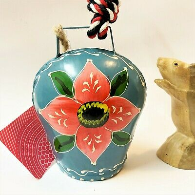 Indian Hand Painted Tin Hanging Cow Bell Chime, 15cm High, As New with Tag
