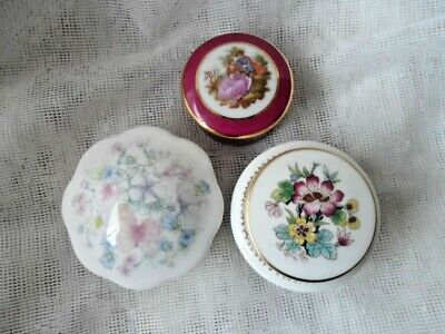 Trinket Boxes with Lids - Limoges, Wedgwood and Coalport