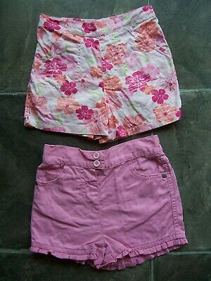 Girl's Pink Cotton Shorts x 2 Size 2 VGUC