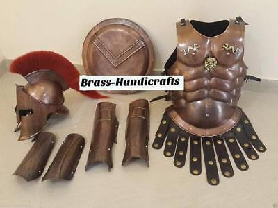 300 KING SPARTAN HELMET WITH SET OF MUSCLE ARMOR or SHIELD & ARM & LEG GUARD