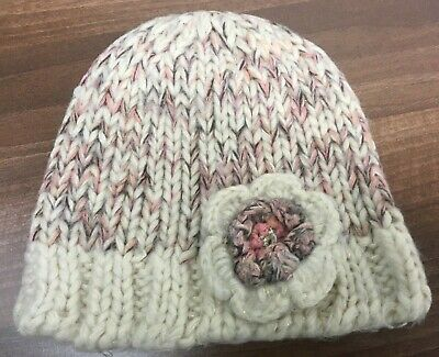 Hand knitted beanie hat cream/pink for girls 7-10 years approx