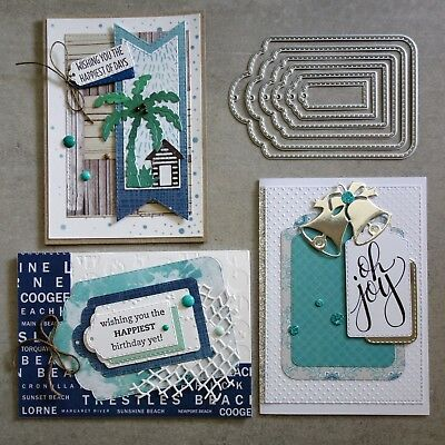 Shopaperartz STITCHED NESTED TAGS 6 PIECE CHRISTMAS BIRTHDAY CUTTING DIES