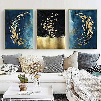 Modern Oil Painting Gold Foil Fish Group Abstract Wall Art Canvas Posters N7