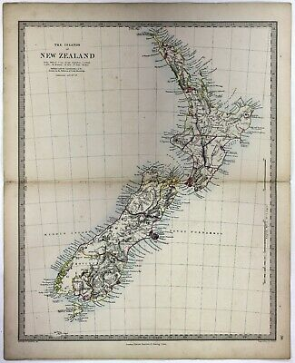 c1861 Old Antique 19th Century Engraved Map New Zealand Hand Coloured Scarce