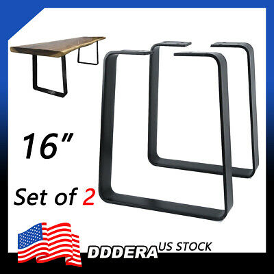 "16"" DIY Industrial Vintage Coffee Table Legs Set of 2 Metal Trapezoid Bencher US"