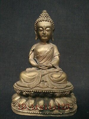 Collection China Old Copper Silver Carving Sakyamuni Buddha Statue Decoration