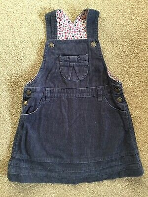 Jojo Maman Bebe 3-4 Years Cord Pinafore Dress Navy Blue With Flower Lining
