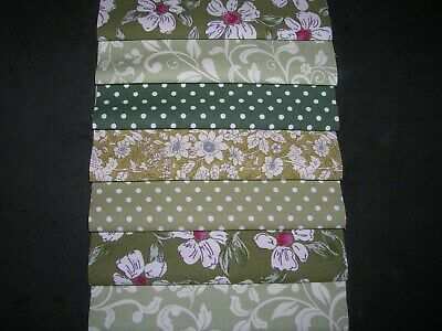 "40 x 5"" CHARM PACK SQUARES GREEN  100% COTTON PATCHWORK/QUILTING/CRAFTS NEG"