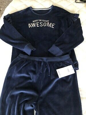 Girls Marks And Spencer Velvet Track Suit/ Leisure Suit Age 12