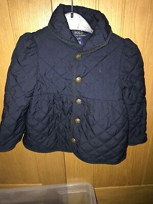 Girls Polo Ralph Lauren Navy Quilted Jacket age 3 Years Ex Cond