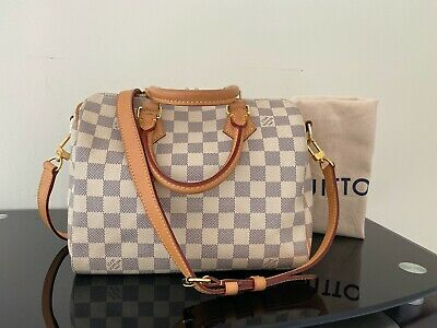 AUTHENTIC Louis Vuitton DAMIER AZUR Speedy 25 Bandouliere Shoulder Bag
