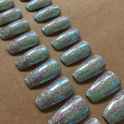 Silver Holographic Glitter And Glass Medium Coffin Style Press On False Nails
