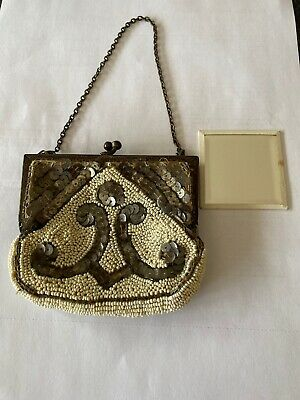 Vintage Beaded And Sequin  Evening Purse With Mirror