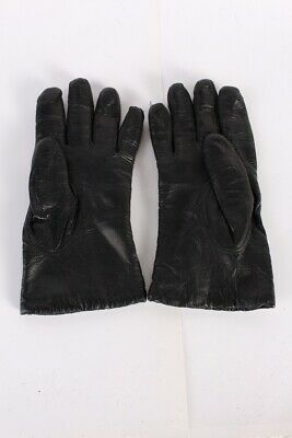 Vintage Leather Gloves  Womens Fashionable Fleece Lined Size 7 Black - G79