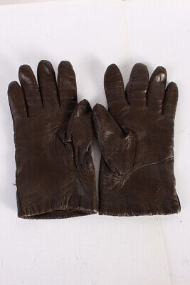 Vintage Leather Gloves  Warm Winter Classy Fleece Lined Size 7 Brown - G69