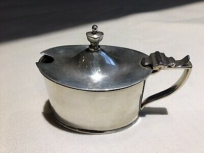 Sterling Silver Mustard Pot With Blue Liner - Chester Circa  1911