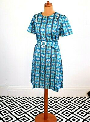 Vintage Early 80's Japanese Blue Floral Check Print Dress Retro Boho 12