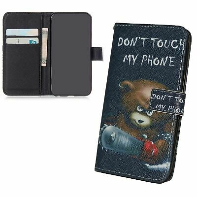 Premium Phone Case Wallet for Apple IPHONE Se Bear with Chainsaw Black