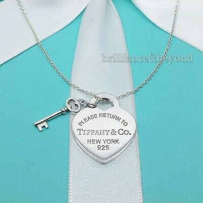 Return to Tiffany & Co. Heart Key Pendant Chain Necklace 925 Sterling Silver
