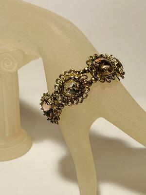 Vintage Style Filigree & Antiqued Gold Tone Large Faux Gem Stretch Bracelet Cute
