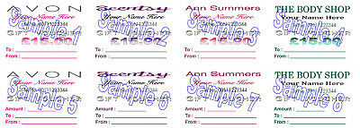 Gift Vouchers 24 Avon Scentsy Ann Summers The Body Shop PERSONALISED PRINTING