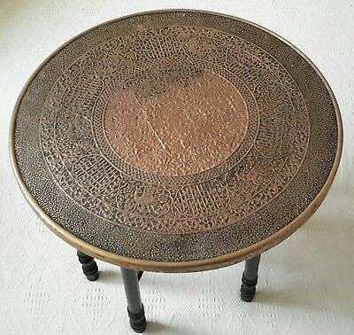 Antique Middle Eastern Brass Table with Folding Legs 60cm Diameter