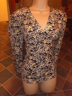 Paul Smith Black Label Sheer Silk Blouse Floral Abstract Print Shirt Top BNWT 40