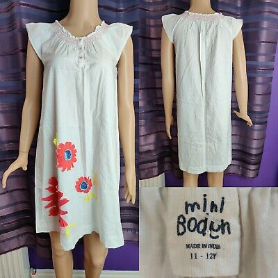 Girls Mini BODEN White Floral Tunic Dress Age 11-12 Yrs Pink/Yellow Embroidery