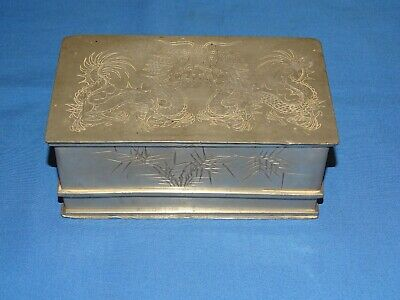 Antique Chinese Pewter Tea Caddy, KUT HING SWATOW w/ Dragons