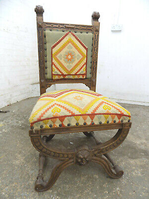 antique,victorian,carved,oak,X frame,chair,embroided,hall chair,sprung,high back