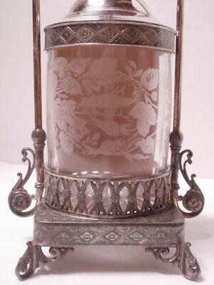 ANTIQUE VICTORIAN JAMES TUFTS SILVER PLATE PICKLE CASTOR w/ETCHED GLASS ANIMALS