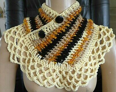 Scarf Collar Capelet Handmade Wrap Crocheted Black Yellow Colores One of a kind