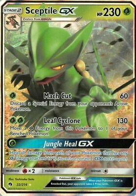 Near Mint Pokemon SM Lost Thunder Sceptile GX #22 Ultra Rare Holofoil