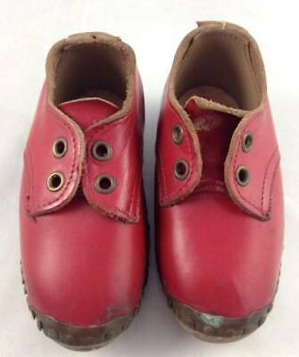 Antique Vtg Childs Lancashire Clogs Red Leather With Metal Wood Soles Shoes