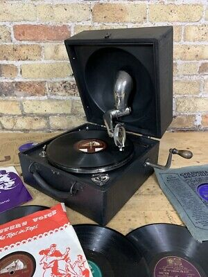 Vintage Portable Decca Junior Trench Gramophone, c 1930's, Fully Working