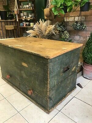 Late 18th Century Large Pine 2 Draw Mule Chest