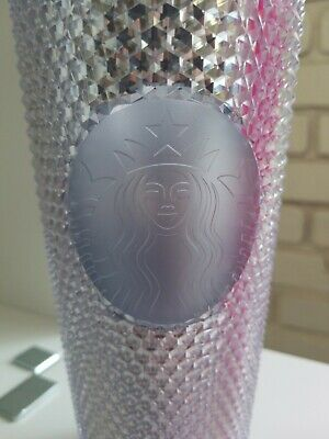 STARBUCKS 2019 Platinum Silver Studded Cold Cup Tumbler WINTER HOLIDAY 24 oz