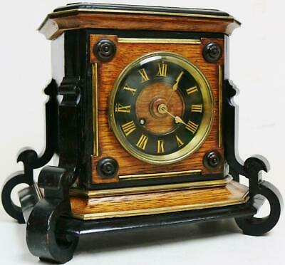 Antique French 8 Day Ebonised & Oak Architectural Bell Striking Mantel Clock